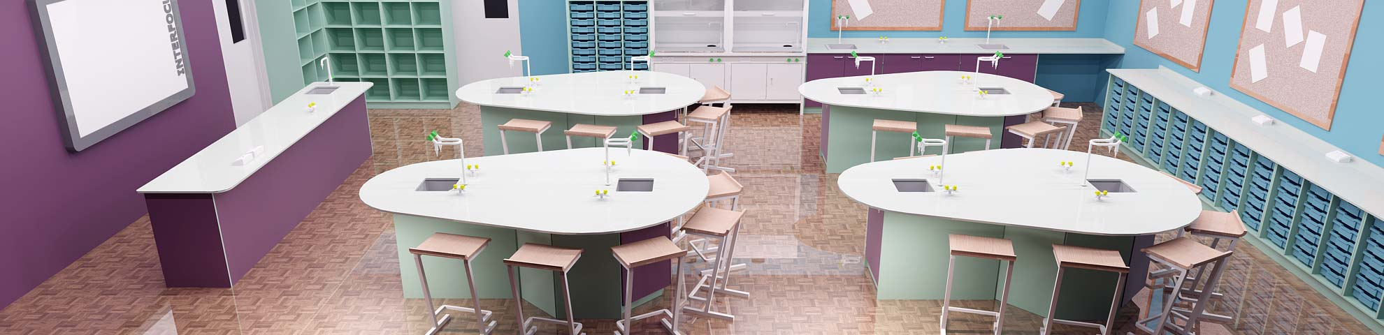 worktops for school laboratories, food technology rooms and ICT suites
