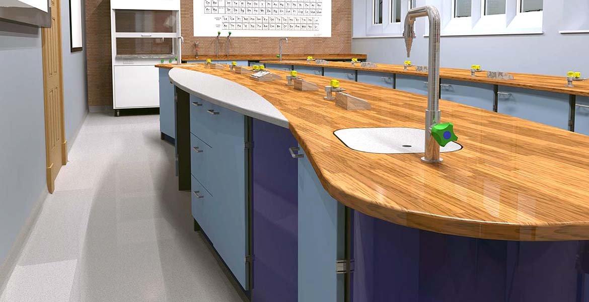 realistic 3D renders of classroom design and layout by interfocus