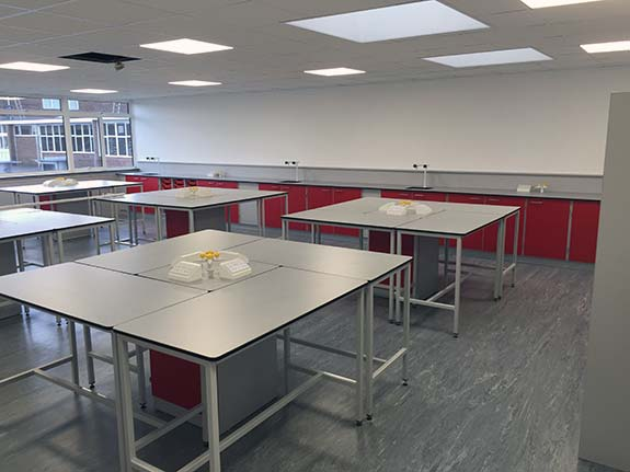 school tables and science pods